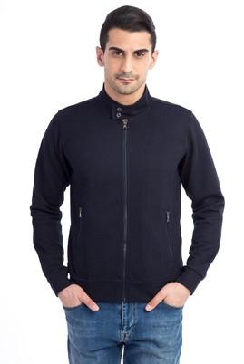 Erkek Giyim - Lacivert 3X Beden Fermuarlı Slim Fit Sweatshirt