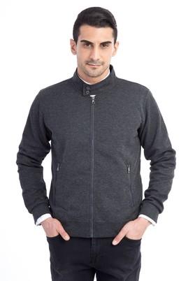 Erkek Giyim - ANTRASİT M Beden Fermuarlı Slim Fit Sweatshirt