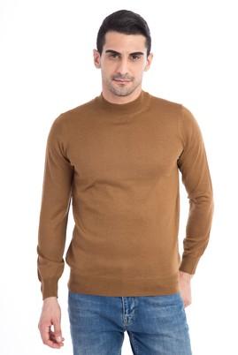 Erkek Giyim - Açık Kahve - Camel XXL Beden Bato Yaka Yünlü Triko Kazak