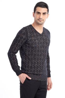 Erkek Giyim - Siyah XL Beden V Yaka Desenli Slim Fit Triko Kazak
