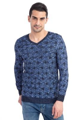 Erkek Giyim - Mavi XXL Beden V Yaka Desenli Slim Fit Triko Kazak