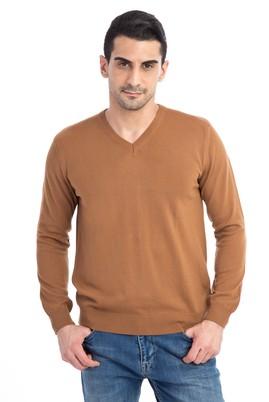 Erkek Giyim - Açık Kahve - Camel L Beden V Yaka Regular Fit Triko Kazak
