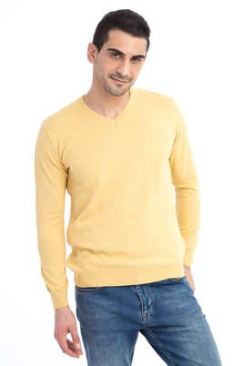 Erkek Giyim - Sarı XXL Beden V Yaka Regular Fit Triko Kazak