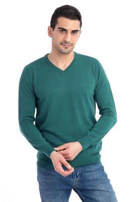 Erkek Giyim - Acık Yesıl XXL Beden V Yaka Regular Fit Triko Kazak