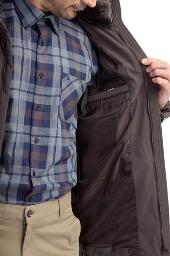 Erkek Giyim - Kürk Yaka Bonded Kaban