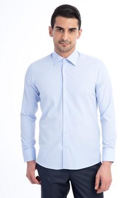 Erkek Giyim - Açık Mavi M Beden Uzun Kol Desenli Slim Fit Gömlek