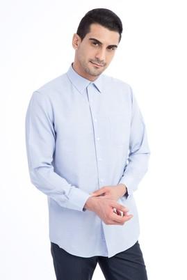 Erkek Giyim - Mavi XXL Beden Uzun Kol Desenli Klasik Gömlek