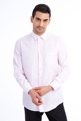 Erkek Giyim - Pembe L Beden Uzun Kol Desenli Klasik Gömlek