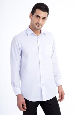 Erkek Giyim - Lila XXL Beden Uzun Kol Desenli Klasik Gömlek