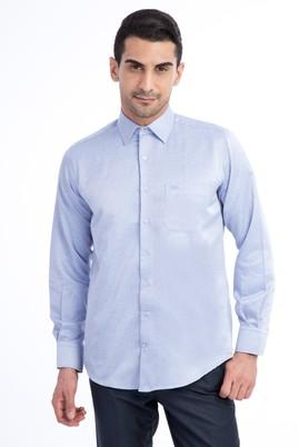 Erkek Giyim - Mavi L Beden Uzun Kol Desenli Klasik Gömlek