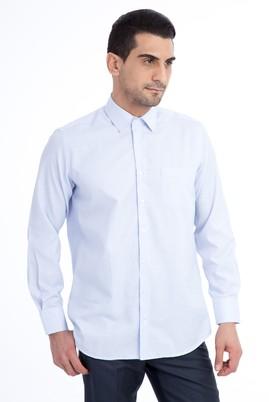 Erkek Giyim - Açık Mavi 4X Beden Uzun Kol Desenli Klasik Gömlek