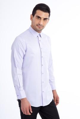 Erkek Giyim - Lila XL Beden Uzun Kol Desenli Klasik Gömlek
