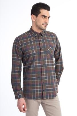 Erkek Giyim - Kahve M Beden Uzun Kol Ekose Oduncu Gömlek