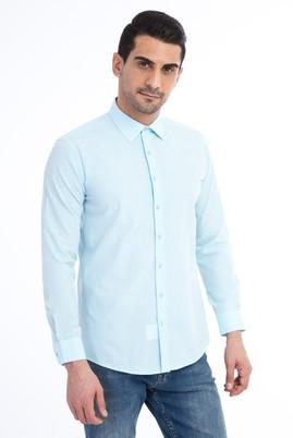 Erkek Giyim - Turkuaz S Beden Uzun Kol Desenli Slim Fit Gömlek