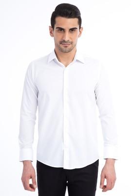 Erkek Giyim - Beyaz XL Beden Uzun Kol Slim Fit Gömlek