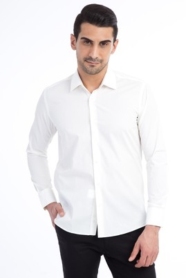 Erkek Giyim - KREM L Beden Uzun Kol Slim Fit Gömlek