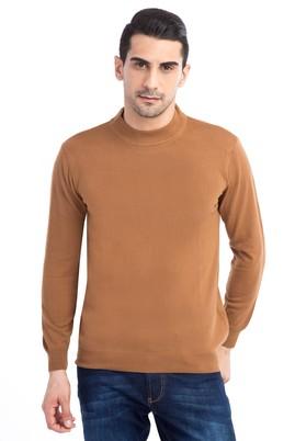 Erkek Giyim - Açık Kahve - Camel L Beden Bato Yaka Triko Kazak
