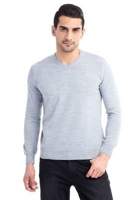 Erkek Giyim - Orta füme L Beden V Yaka Regular Fit Triko Kazak