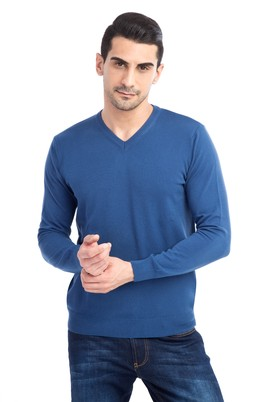 Erkek Giyim - Petrol L Beden V Yaka Regular Fit Triko Kazak