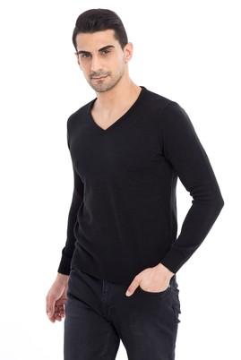 Erkek Giyim - Siyah L Beden V Yaka Regular Fit Triko Kazak
