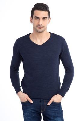 Erkek Giyim - Lacivert M Beden V Yaka Regular Fit Triko Kazak
