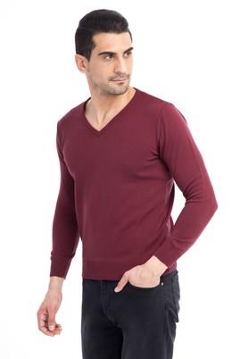 Erkek Giyim - Kırmızı S Beden V Yaka Regular Fit Triko Kazak