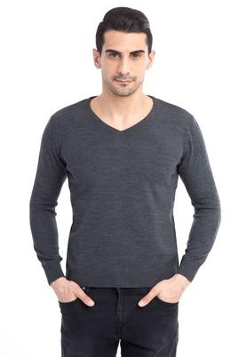 Erkek Giyim - Antrasit L Beden V Yaka Regular Fit Triko Kazak