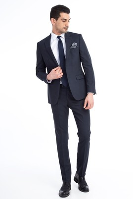 Erkek Giyim - Antrasit 50 Beden Slim Fit Kuşgözü Takım Elbise