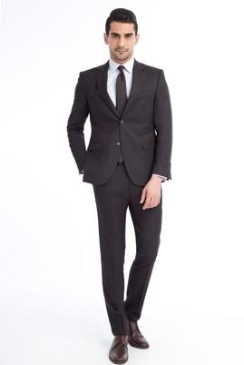 Erkek Giyim - KOYU KAHVE 50 Beden Slim Fit Kuşgözü Takım Elbise