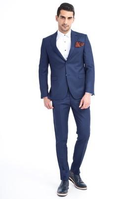 Erkek Giyim - Mavi 50 Beden Slim Fit Çizgili Takım Elbise