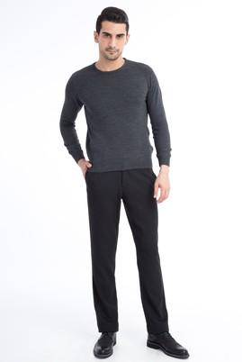 Erkek Giyim - Siyah 48 Beden Kuşgözü Flanel Pantolon