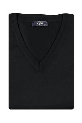 Erkek Giyim - Siyah 5X Beden King Size V Yaka Yünlü Triko Kazak