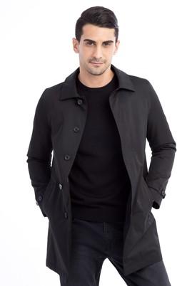 Erkek Giyim - Siyah 54 Beden Klasik Pardösü