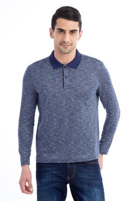 Erkek Giyim - Lacivert 3X Beden Polo Yaka Sweatshirt