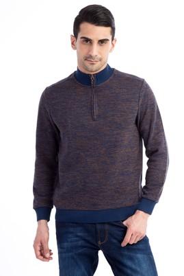 Erkek Giyim - HAKİ XXL Beden Bato Yaka Fermuarlı Sweatshirt