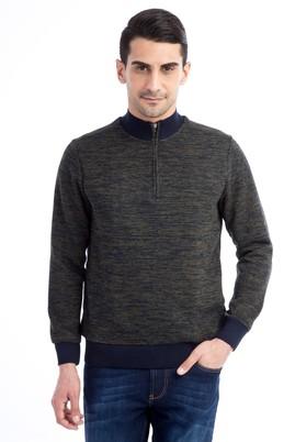 Erkek Giyim - KOYU YESİL L Beden Bato Yaka Fermuarlı Sweatshirt