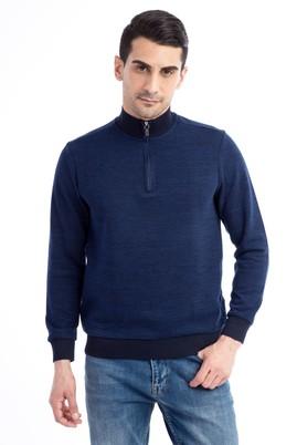 Erkek Giyim - Lacivert L Beden Bato Yaka Fermuarlı Sweatshirt