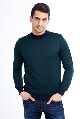 Erkek Giyim - KOYU YESİL S Beden Bato Yaka Yünlü Triko Kazak
