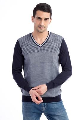 Erkek Giyim - Lacivert L Beden V Yaka Yünlü Desenli Triko Kazak