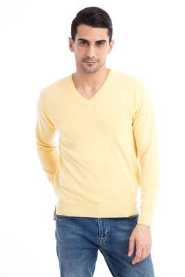 Erkek Giyim - Sarı XL Beden V Yaka Regular Fit Triko Kazak
