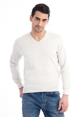 Erkek Giyim - Bej L Beden V Yaka Regular Fit Triko Kazak