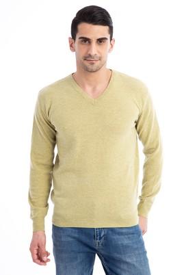 Erkek Giyim - Acık Yesıl XL Beden V Yaka Regular Fit Triko Kazak