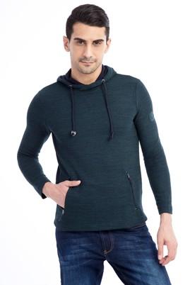 Erkek Giyim - KOYU YESİL M Beden Kapüşonlu Slim Fit Sweatshirt