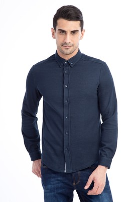 Erkek Giyim - Lacivert L Beden Polo Yaka Slim Fit Sweatshirt