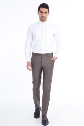 Erkek Giyim - Kahve 52 Beden Slim Fit Ekose Klasik Pantolon
