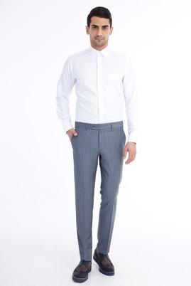 Erkek Giyim - Açık Mavi 56 Beden Slim Fit Ekose Klasik Pantolon