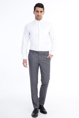 Erkek Giyim - Orta füme 48 Beden Slim Fit Kuşgözü Klasik Pantolon