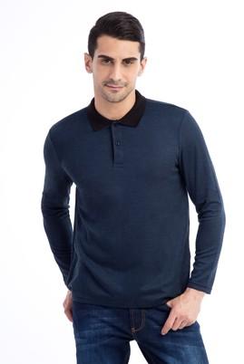 Erkek Giyim - Mavi L Beden Polo Yaka Sweatshirt
