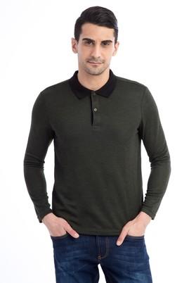 Erkek Giyim - Açık Yeşil L Beden Polo Yaka Sweatshirt