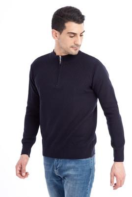 Erkek Giyim - Lacivert 3X Beden Bato Yaka Fermuarlı Triko Kazak